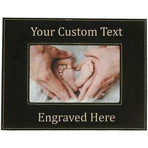 Personalized Engraved Leatherette Black Picture Frame, Gift For Mom Dad Grandma