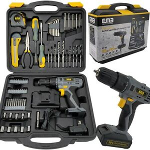 77 Pieces Household Lithium Battery Cordless Drill Driver Power Drill with