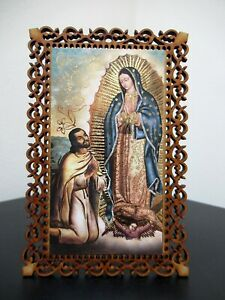 MEXICAN RELIGIOUS ICON GOLD EMBOSSED PRINT LASER CUT VIRGEN GUADALUPE JUAN DIEGO $13.50