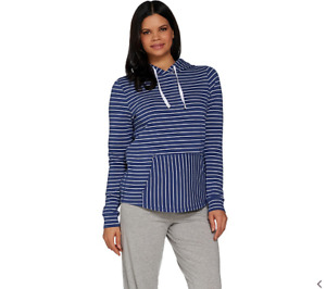 AnyBody Cozy Knit Light French Terry Hoodie Indigo Stripe 1X A306955