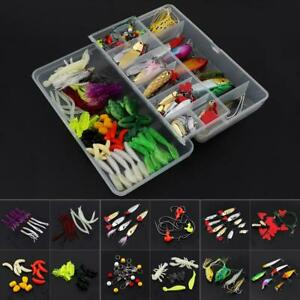 131pcs Fishing Lure Kit Mixed Crankbaits Hooks Minnow Bass Baits Tackle w Box