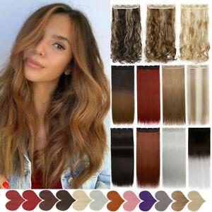 US MEGA LONG 1PC Clip in As Real Hair Extensions ONE PIECE Natural Thick Wavy $11.99