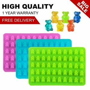 3 Pack 50 Cavity Gummy Bear Candy Molds Silicone Chocolate Ice Maker w/3 Dropper