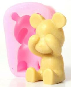 Shy Bear Silicone Molds Craft DIY Soap Cake Tart Chocolate Mould Ice Cube Tray