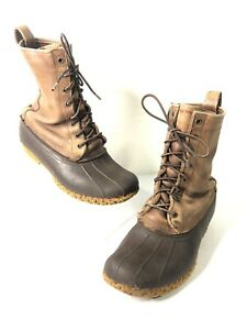 LL Bean Maine 8quot; Brown Leather Duck Rubber Rain Hunting Boots Womens Sz.8 M