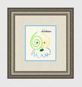 Interesting Pablo PICASSO 1962 Color Lithograph FACES Limited Signed Framed COA $274.50