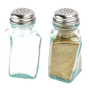 Green Depression Style Glass Salt and Pepper Shakers 100% Recycled Glass Bottles