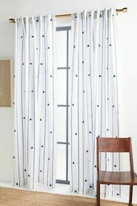 NWT TWO (2) Anthropologie Tasseled Nara Curtain Panels BLUE NAVY Stripe 50 x 96