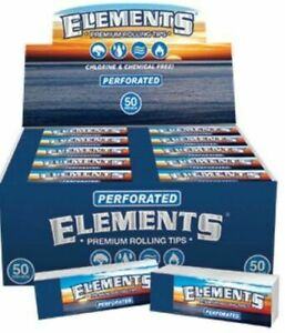 10 X Packs of ELEMENTS Perforated ROLL UP TIPS 50 per Pack 500 Tips Total $9.99