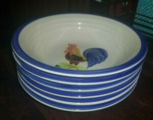 Set of 6 Alco Industries Cereal Soup Oatmeal Bowls Rooster Chicken 8