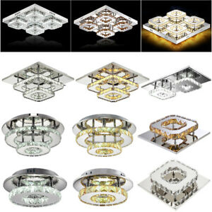 Modern Clear Crystal Ceiling Light LED Pendant Lamp Aisle PathWay Chandelier