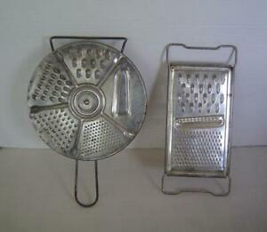 2 Vtg Metal Graters-4 IN 1 Vegetable Cutter Slicer And 5 IN 1 Round Safety Disc