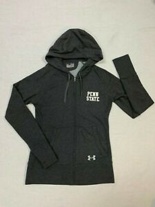 Womens UNDER ARMOUR Gray Full Zip Semi Fitted Penn State Hoodie Sweatshirt Sz SM $14.50