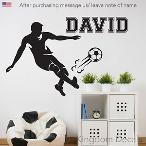 Personalised Soccer Player Any Name Boys Bedroom Wall Art Mural Decal Sticker