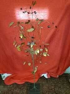1968 Mid Century Modern Large Curtis Jere Copper Tree With Birds Nest Sculpture
