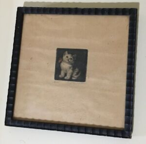 META PLUCKEBAUM Kitten CAT Stamp ETCHING SIGNED FRAMED RARE