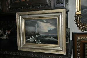 Very Lovely Antique Lighthouse Painting $600.00