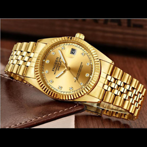 Men's Watch Relojes De Hombre Gold Stainless Steel Quartz Classic Small Dial