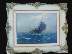 ANTIQUE OIL PAINTING SHIP IN A ROUGH SEAS *SIGNED* c.1940'S $149.00