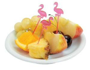 72 PINK FLAMINGO FOOD COCKTAIL APPETIZER PICKS CUPCAKE TOPPERS *NEW* LUAU PARTY
