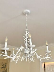 Rare Ballard Designs 5 Light Coral Chandelier - Chinoiserie - Palm Beach Regency