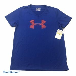 Under Armour Heatgear Tech Girls Loose V Neck Big Logo Tee Purple Blue YXL NEW $14.38