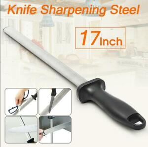 17'' 600# Grit Diamond Kitchen Knife Sharpener Sharpening Steel Rod Stone
