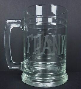 Personalized Beer Mug FRANK etched on Glass Beer Mug Drinking Cup Gift