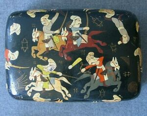 Antique Box Hand Painted India Paper Mache 6.5 x 4.5 inches C $34.00
