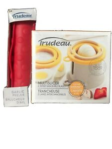 Trudeau Red Silicone Garlic Peeler  Amd Multi Slicer Kitchen Cooking Home New