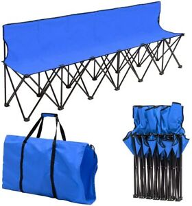 6 Seats Foldable Sideline Bench with Back for Sports Team Camping Chairs Blue US