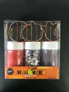 2002 Wilton Halloween Cookie Set Copper Cookie Cutters and Sprinkles New in Box $14.99