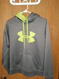 Under Armour Men's SMALL semi fitted Gray Lime Green Big Logo Fleece Hoodie $13.00