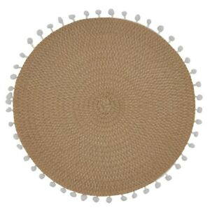 Fennco Styles Pom Pom Textured Placemats 15 Inches Round, Set of 4