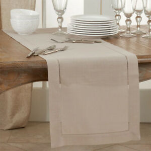 Fennco Styles Classic Hemstitch Design Table Linen Collection – Taupe