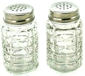Clear Textured Glass Salt and Pepper Shakers Vintage-Retro Style Old Diner Type