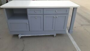*84quot; Grey color Kitchen island with white quartz top Custom welcomed* $2499.00