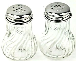 Vintage-Retro Style Clear Glass Salt and Pepper Shakers Horizontal Ribbed Swirl