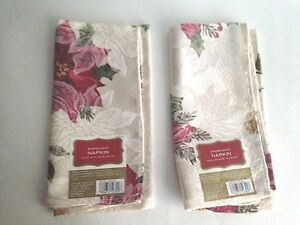 Target Holiday Poinsettia Damask Christmas Holiday Napkins 2 Total