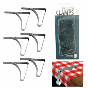 6 Pc Stainless Steel Tablecloth Clamps Cover Clip Holder Table Cloth Picnic New