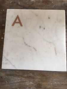 "New Marble Cutting Cheese Meat Board Williams Sonoma Copper Letter ""A"" 10""x10"""