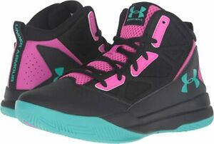 Under Armour Girl's UA Jet Mid Running Shoe, Black Pink Teal, 11 Big Kid M US $32.99