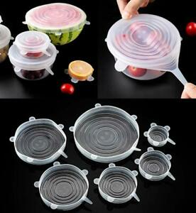 6pc. Silicone Stretch Bowl Wraps Food Saver Covers Seal Insta Lids Reusable USA