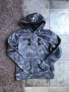 UNDER ARMOUR Spell out Gray Camo Youth Large Sweatshirt Hoodie Gray Black EUC $14.99