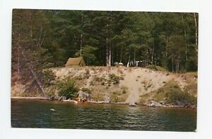 Postcard Camping on Au Sable River Huron National Forest MI Tent Boat 1960s