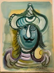 PICASSO ORIGINAL PAINTING GOUACHE signed Picasso **SEE PROVENANCE** $5850.00