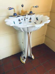 Sherle Wagner Tulip Pedestal Sink with Faucets Custom Painted Egyptian Design