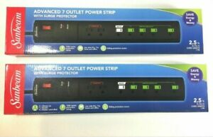 2 Sunbeam Advanced 7 Outlet Power Strip Surge Protectors w Master Control Plugs $14.00
