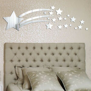 US Removable 3D Mirror Star Decal Art Mural Acrylic Wall Sticker Home DIY Decor