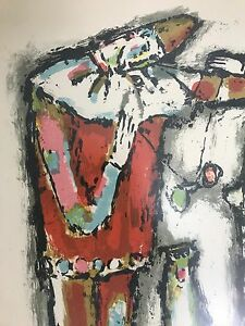 Vtg 50s Alois Carigiet Clowns Lithograph Signed Numbered Mid Century Modern Art